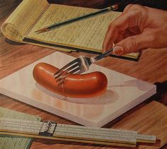 1940s advertising illustration Swift Premium Meats advertisement sausage. love the slide rule next to the cut sausage.