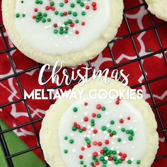 Meltaway cookies are a soft, lightly sweet shortbread cookie that literally melts away in your mouth. Top it with a thin glaze and red and green sprinkles for a festive Christmas cookie treat. Christmas Deserts, Holiday Desserts, Holiday Baking, Holiday Treats, Holiday Recipes, Christmas Cupcakes, Christmas Sprinkles, Christmas Dishes, Christmas Foods