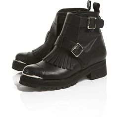 ALIEN Chunky Fringe Boots ($190) ❤ liked on Polyvore