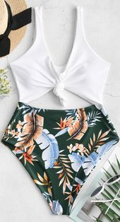 High Cut Contrast Knotted Leaf Swimsuit - Swimsuits - Ideas of Swimsuits Bathing Suits For Teens, Summer Bathing Suits, Cute Bathing Suits, Summer Suits, Cute Swimsuits, Teen Swimsuits, Beach Swimsuits, Strapless Swimsuit, Camo Swimsuit