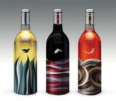 Air, Water and Earth: an original interpretation of the elements theme for three different bottle packaging for Mayrah Wine - Carefully selected by GORGONIA www.facebook.com/gorgonia.it