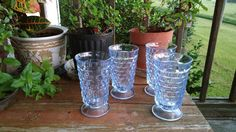 Whitehall Blue Goblets, Indiana Vintage Glassware, Indiana Whitehall, Barware,Tumblers, Home Bar, Retro Entertaining, Mid Century Glass by RockySpringsVintage on Etsy
