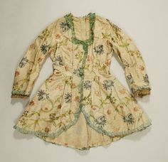 Jacket 18th century - American/European - looks like cotton to me or painted silk.  MET C.I.39.13.84