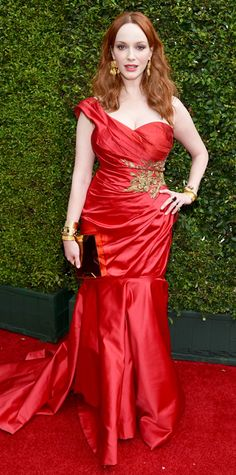 Christina Hendricks at the Emmy Awards 2014 - Red is everywhere!