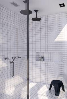 Tropical jungle atrium and double shower   Urban contemporary bathroom. Design by Eleni Psyllaki @myparadissi