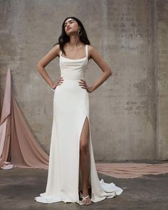 In our classic matte silk with heavy silk satin lining, this modern and fashion forward silhouette features a slight scoop bodice with a bias cut cowl drape over the bust. The wider straps are ultra modern and comfortable. Chic Wedding Dresses, Bridal Dresses, Wedding Gowns, Prom Dresses, Boho Wedding, Inexpensive Wedding Dresses, Mermaid Wedding, Wedding Bride, Bluebell Bridal