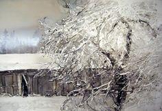watercolour by Lars Lerin (b. Watercolor Trees, Watercolor Artists, Watercolor Landscape, Watercolor And Ink, Artist Painting, Landscape Art, Landscape Paintings, Watercolor Paintings, Watercolors