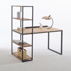 Hiba Industrial Solid Oak Desk Shelving Unit