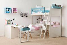 Habitación infantil con cama nido y litera : Dormitorios infantiles de estilo moderno de Sofás Camas Cruces