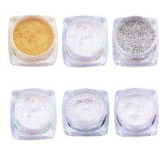 네일 반짝이 분말 거울 크롬 효과 먼지 6 색 반짝이 쉬머 빛나게 손톱 아름다움 매니큐어 네일 아트 장식 1 그램/상자