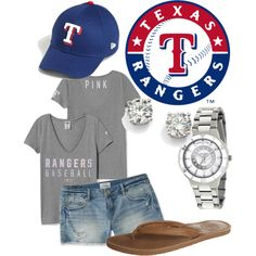Go Rangers by shanraye30 on Polyvore featuring Victoria's Secret, Aéropostale, Reef, Game Time, Saks Fifth Avenue and New Era