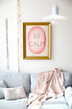 Image of Affiche Be calm Living Room Paint, My Living Room, Home And Living, Mood Board Inspiration, Interior Inspiration, Pastel House, Pink Blanket, Home Office Decor, Home Decor