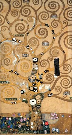 """drawing by Gustav Klimt, """"Tree of Life,"""" from the dining room at the Stoclet Palace in Brussels, Belgium    Um dia quero fazer uma releitura deste..."""