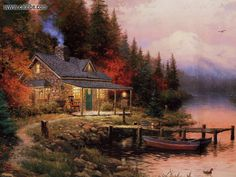 Drawing & Painting: Thomas Kinkade - The End of a Perfect Day, picture nr. 8 Definitely a place to send Hubby!