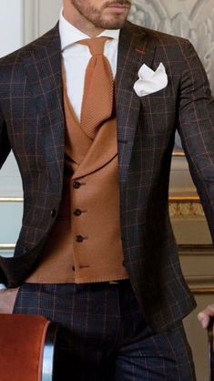 Wedding Suits men suits prom -- CLICK VISIT link above for more info Sharp Dressed Man, Well Dressed Men, Costume Marron, Dandy Look, Checkered Suit, Style Masculin, La Mode Masculine, Herren Outfit, Mens Fashion Suits