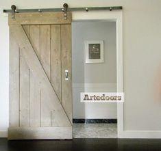Puerta corredera gris madera vintage reciclada deco for Puertas correderas estilo granero