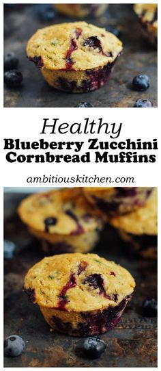 Healthy Zucchini Blueberry Cornbread Muffins -- made with whole grains and naturally sweetened with a hint of maple syrup. So moist and delicious!