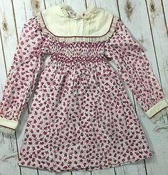 Vintage 80s Polly Flinders Pink Floral Smocked Long Sleeve Dress Trim Girls 6 | eBay
