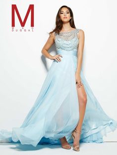 Mac Duggal Prom www.thecastlepromandbridal.com  Collection: Cassandra Stone Style: 65405 A Colors:  Ice Blue Sizes:  0-16