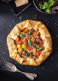 Tomato and Zucchini Galette with Parmesan Crust