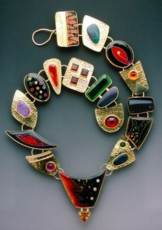 Lisa Hawthorne long colorful necklace, statement necklace, artisan jewelry