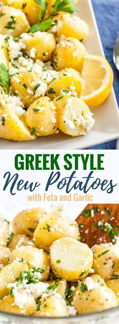 Greek-Style Boiled Potatoes loaded with fresh Mediterranean flavors are the perfect side dish for holidays or family dinners! Feta, garlic, lemon, and. Healthy Side Dishes, Side Dishes Easy, Vegetable Side Dishes, Side Dish Recipes, Lunch Recipes, Easy Dinner Recipes, Cooking Recipes, Healthy Recipes, Greek Side Dishes