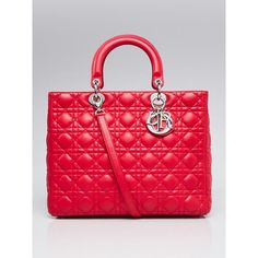 Pre-owned Christian Dior Red Quilted Cannage Lambskin Leather Large... (99.025 RUB) ❤ liked on Polyvore featuring bags, handbags, tote bags, vintage purses, tote handbags, initial tote bags, quilted totes and quilted tote bags