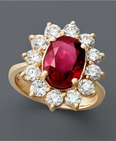 Royalty Inspired by Effy Collection 14k Rose Gold, Ruby, and Diamond Oval Ring as found on macys.com.  $8,500.
