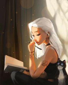 Cute Girl Drawing, Cartoon Girl Drawing, Girl Cartoon, Art Drawings Sketches, Cute Drawings, Fantasy Character Design, Character Art, Tumbrl Girls, Digital Art Girl