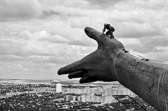 """Man overlooks the city of  Stalingrad (now Volograd) On Top Of The Statue Known As """"The Motherland Calls"""" 1987"""