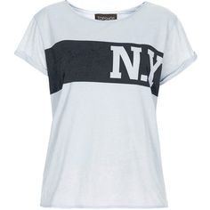 TOPSHOP New York Burnout Tee ($15) ❤ liked on Polyvore featuring tops, t-shirts, shirts, tees, pale blue, burnout tops, slogan tees, burn out tee, shirts & tops and topshop tops