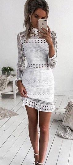 #summer #outfits  White Lace Dress   White Sandals