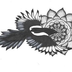 Really cool magpie mandala which was created by @lil_zef with their Chameleon Pens.  #magpie #mandalatattoo #black #white #bird #tattoo #design #flower #nature #dotwork #pattern #patternwork #chameleonpens #fineliner #pen #micron #sakura #flying #feathers #feather #wings #art #arty #cosmicmonstersincorporated