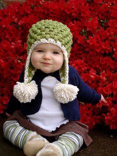 Christmas Green Organic Crochet Pom-Pom Baby Hat.  via Etsy.