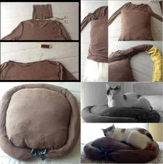 Make a nice cuddly place for your cat/dog from an old sweater and a pillow.