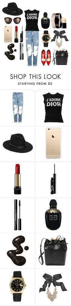 """""""Street Style_"""" by marie-berge ❤ liked on Polyvore featuring Topshop, Christian Dior, Lack of Color, Lancôme, Alexander McQueen, Chanel, Mansur Gavriel, Rolex and GUESS by Marciano"""