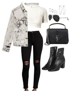 """""""Untitled #4691"""" by lilaclynn ❤ liked on Polyvore featuring Hudson, Yves Saint Laurent, Topshop, Ray-Ban, Lydell NYC, YSL, topshop, rayban, saintlaurent and yvessaintlaurent"""