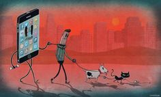 I love this image. A sad but true reality nowadays is that we are driven (or walked on a short leash) by our phones and social media activity