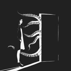 Come in  #blackandwhite #black #octopus #abigailcarinoart #girl #art #digitalart #illustration