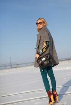 Betsey Johnson heels #outfit  , Marni in Coats, Zara in Sweaters, Mulberry in Bags, Guess in Jeans, Betsey Johnson in Boots