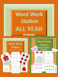 $8.50 This pack includes 34 weeks worth of word work stations. Each week you will have a directions page with a colored seasonal clip art, word work part...