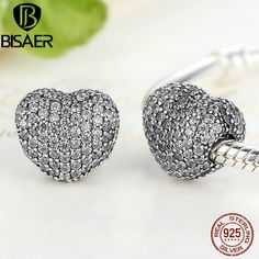 BAMOER 925 Sterling silver Charm Heart moment With Pink CZ For bracelet Jewelry