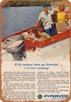 Evinrude Outboard Boat Motor Original 1963 by VintageAdOrama Vintage Sled, Vintage Boats, Outboard Boat Motors, Runabout Boat, Boat Restoration, Kayak Storage, Cabin Cruiser, Boat Engine, Old Boats