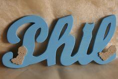 Holzbuchstabe Namensschriftzug Name Baby Wunschfarbe
