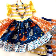 Nemo Dory dress Disney Finding Dory girl boutique by momiboutique