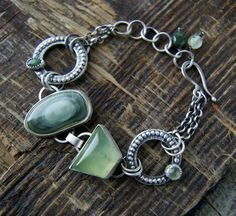 The Circle of Life - Imperial Jasper and Prehnite Sterling Bracelet by MercuryOrchid