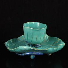 A Set Chinese Gold-plating Sky Blue Glaze Porcelain Cup & Plate
