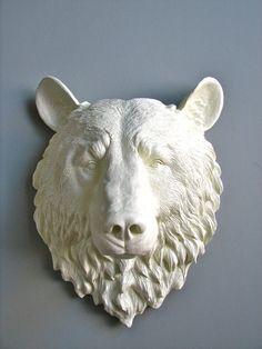 Faux Taxidermy Bear Head Full Size Wall Mount 16 1/2 inches tall: Bob the Bear Head. $120.00, via Etsy.