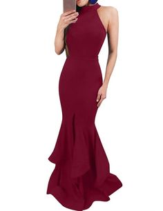 Bess Bridal Women's Mermaid Round Neck Long Formal Prom Evening Party Dress