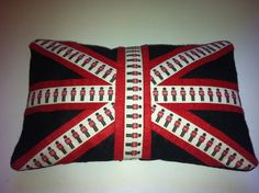 Union Jack Cushion in Red and Black Felt with Changing of the Guard £12.00